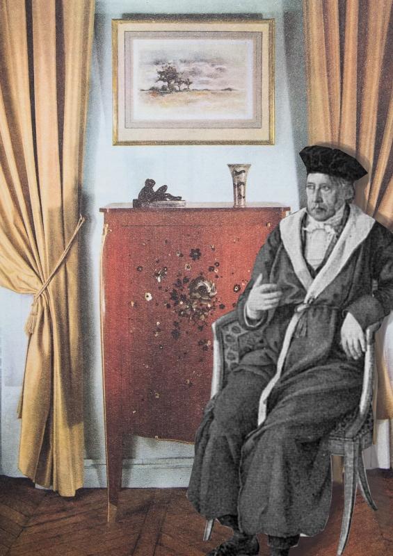 Hegel, vor einem Bild sitzend