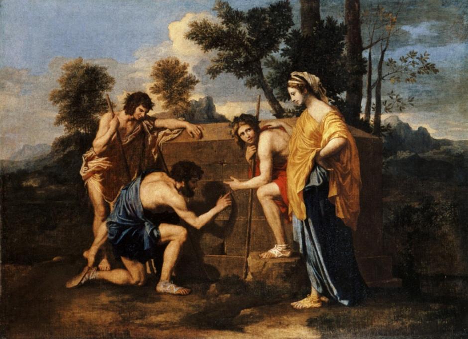 """Nicolas Poussin, Die arkantischen Hirten,1655. Die Inschrift des Grabsteins """"Et in Arcadia Ego"""" vermittelte die Botschaft """"Memento Mori"""", denke daran, dass du stirbst. Doch auch Sprach lässt sich anders interpretieren: so komm es im Laufe des 18. Jahrhunderts zu einer Umdeutung des Ausspruchs in """"Auch ich (der hier begraben liegt) bin in Arkadien""""."""