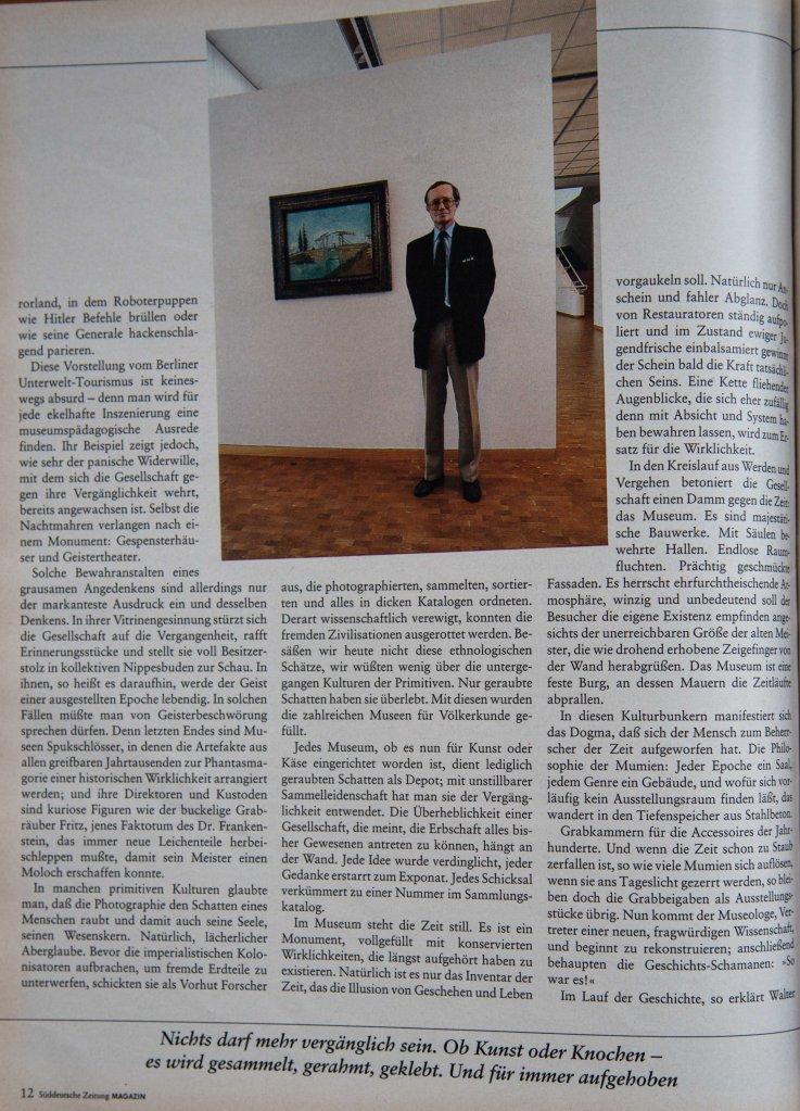 """Auszug aus dem Artikel """"Brauchen wir eigentlich Museen?"""" von Joachim Riedl. Fotografie von Heinz Augé."""