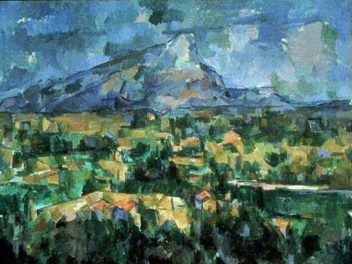 """Die sinnesphysiologische Forschung hatte um 1900 herausgefunden, dass der perspektivisch-euklidische Raum keinesfalls mit der menschlichen Wahrnehmung übereinstimme. Cézannes brach daher mit der zentralperspektivischen Einansichtigkeit. Hier sein Bild """"Mont Sainte-Victoire"""" von 1902-04."""