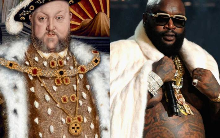 Left: Henry VIII by the studio of Hans Holbein the Younger, 1540-1550 / Right: Rick Ross