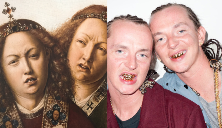 Left: Jan van Eyck. Ghent Altarpiece detail. c. 1432 / Right: The ATL Twins.
