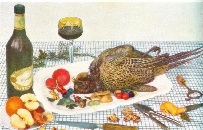 Auf einer frühen Farbfotografie von 1930 wird anstatt des fertigen Gerichtes der gerade erlegte Vogel als Stellvertreter inszeniert.
