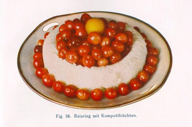 """Noch ein Klassiker von Nietlispach """"Kalte Küche, der Stolz der Hausfrau"""" von 1931 stellt die Gerichte vor weißem Hintergrund frei."""