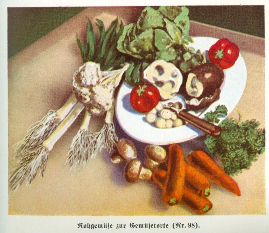 """Hitler war Vegetarier, daher gibt es bereits in den 40er Jahren zahlreiche vegetarische Kochbücher. Ida Klein stellt 1941 in ihrem Kochbuch """"Neuzeitliche Küche"""" """"reiche Gedecke der Natur"""" vor. Es gibt nicht nur Rezepte, sondern auch eine """"Einführung in die neuzeitliche Ernährungslehre""""."""