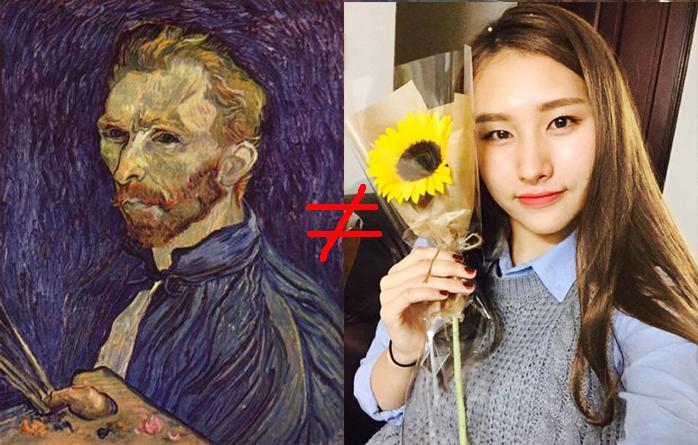 Auch Vincent van Gogh hat sich für Sonnenblumen interessiert. Ist das Mädchen rechts deshalb auch eine Künstlerin?