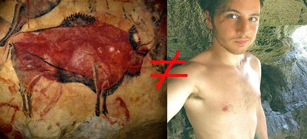 Das Selfie (rechts) wurde nicht in einer steinzeitlichen Höhle, sondern in einem Erlebnisbad aufgenommen.