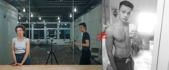 Gut aussehen ist auch Arbeit. Jeff Wall referiert Manet, der Mann rechts im Bild einen Bodybuilder?