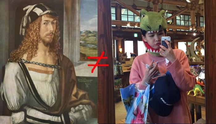 Albrecht Dürer stellt sich als Künstler dar, das Mädchen links als Dinosaurier?
