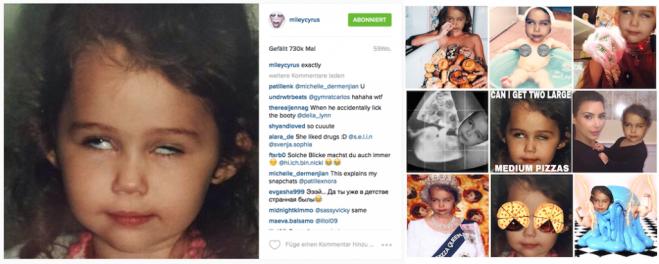 Links: Der originale Post von Miley Cyrus; Rechts: Collagen von Fans, die Cyrus auf ihrem Instagram-Account veröffentlicht und kommentiert hat.