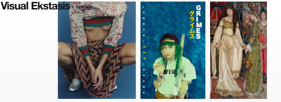 Von links nach rechts: Anja Rubik by Harley Weir For Vogue Paris December 2015; Grimes London UK 2016; Kate Bunce: The Keepsake 1898-1901.
