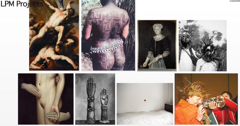 Oben links: Luca Giordano and Sebastian Ricci: The Fall of the Rebel Angels (Details) 1660-1665; darunter: Dina Valls; Barathrum 2003; drittes Bild (oben): Peder Jonsen: Else Jensdatter Plade 1687