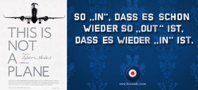 Links: Werbeplakat der British Airways, 2007; rechts: Werbeplakat von Bionade, 2008