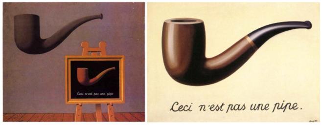 """Links: René Magritte: """"Les deux mystères"""", 1966; rechts: René Magritte: """"La trahison des images"""", 1929"""