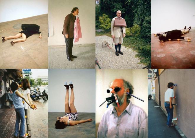"""Verschiedene """"One-Minute-Sculptures"""" von Erwin Wurm."""