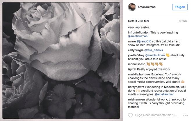 Mit diesem Bild beendet Amalia Ulman ihre Performance. Auf Instagram zeigen sind alle begeistert. Eine Arbeit, die sich jeder Kritik entzieht.