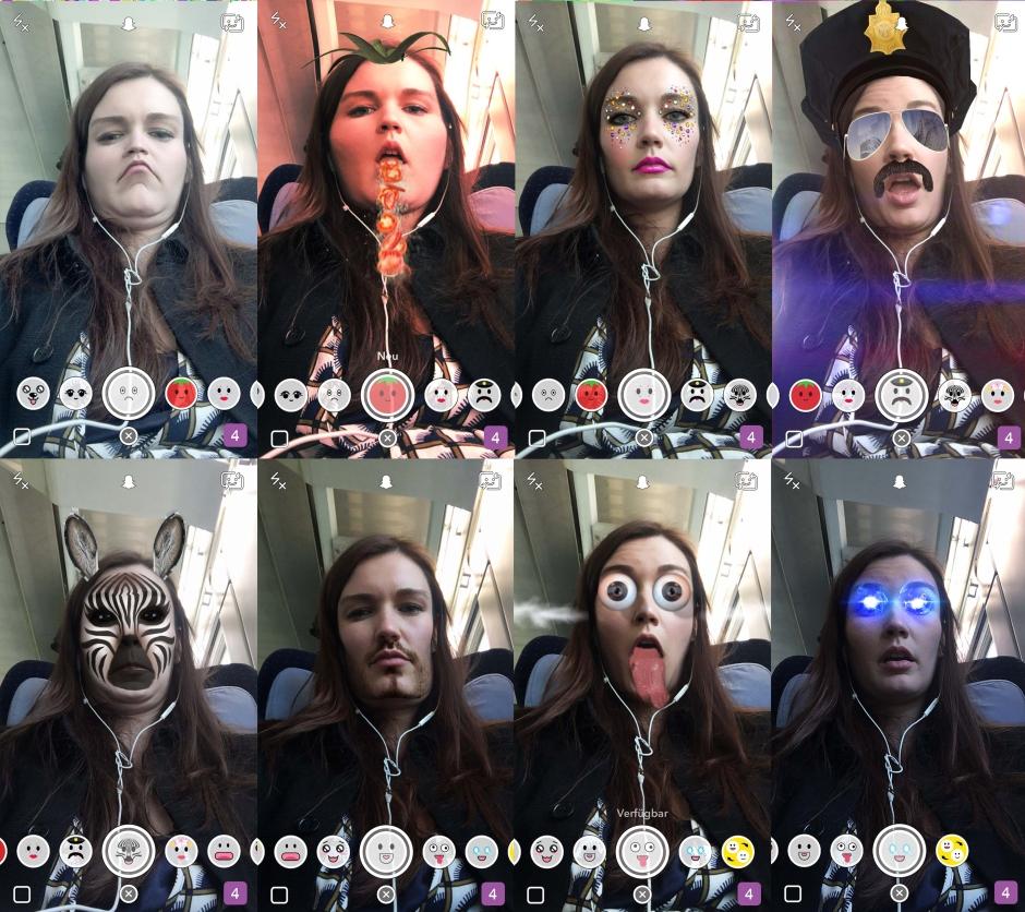 Die Autorin spielt mit verschiedenen Snapchat-Linsen.