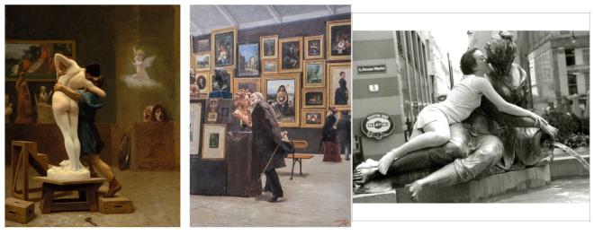 Links: Jean-Léon Gérôme:Pygmalion and Galatea, 1890; mittig: Edouard Antoine Marsal : Satyre et Bacchante, 1887; rechts: Catrin Bolt: Embracing Statues, 1999
