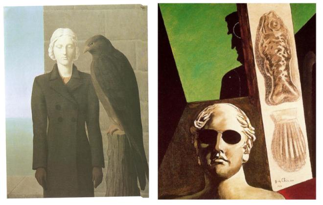 Links: René Magritte: Die tiefen Gewässer, 1941; rechts: Giorgio de Chirico: Porträt von Guillaume Apollinaire, 1914