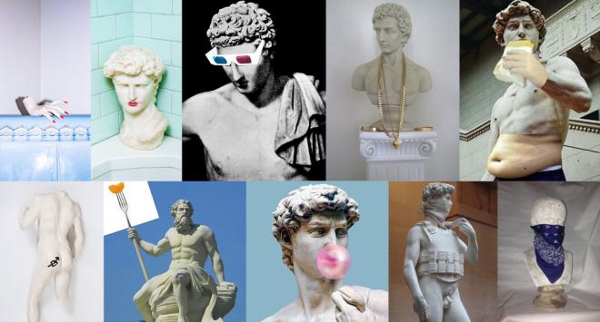 Heute werden Skulpturen geschminkt, mit Schmuck behangen, gemästet oder tätowiert.