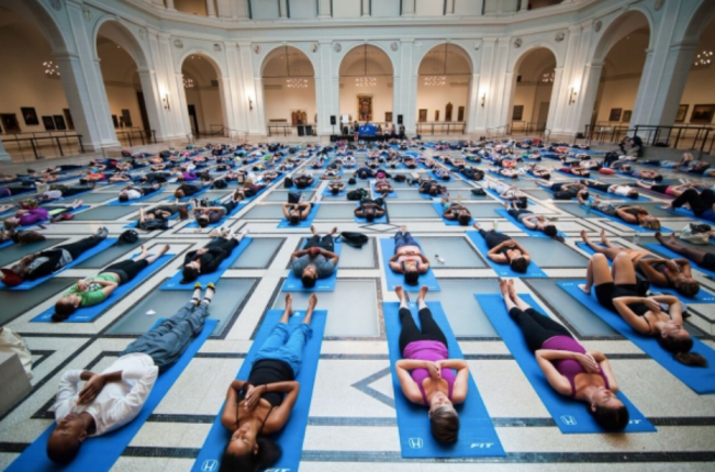 """Bring more Zen to your weekend with monthly yoga classes brought to you by Flavorpill. Renowned yoga teachers from around the country take you through downward dogs and warrior poses alongside a live string trio. Experience this special moment of tranquility and stick around afterwards for a pop-up talk exploring connections between yoga and art in our collection."" Yoga im Brooklyn Museum, 2016."