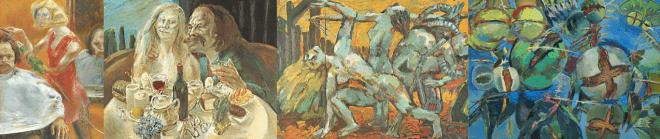 Gille 1972 bis heute. V.l.n.r.: Selbst mit Friseuse (1972), Frühstück (1979), Die permanente Demo (1989), Juglans Regia (2009). Bilder von der Website des Künstler.